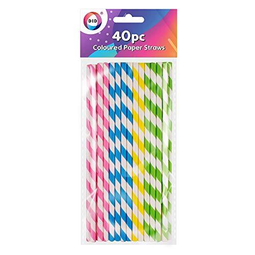 40 pajitas de papel de colores biodegradables reciclables a rayas, ideales para fiestas de bebidas, cumpleaños, bodas