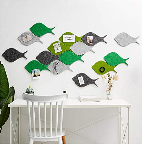 Memo Bulletin Board Set w/Push Pins - 4 stks, Decoratieve vis vilt tegels muur Notice Board - Notities Foto's Doelen Foto's Tekenen Kleuterschool Thuis Creatieve Office Decor Sofa TV Achtergrond Muursticker Groen