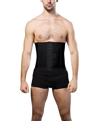DXKIGO Men's 3 Hooks Instant Tummy Tuck Firm Compression Waist Trimmer Slimming Belt (Medium, Black)