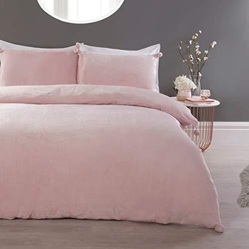 Sleepdown Pom-Juego edredón y Fundas de Almohada (220 x 230 cm), Color Rosa, Forro Polar, Matrimonio
