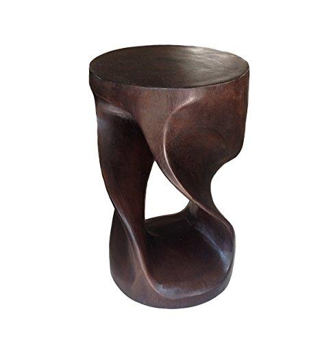 Asiatische Oriental Double Twist 50,8cm Holz Hocker ~ rund TOP Beistelltisch ~ Ende Tisch von COLLUMINO Dark Chocolate Brown
