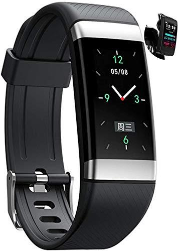 Smart Watches IP67 - Reloj inteligente impermeable con monitor de ritmo cardíaco de temperatura de piel y cuerpo, Bluetooth 4.0 Smartwatch deportivo con pantalla IPS de 0.96 HD, color azul y negro