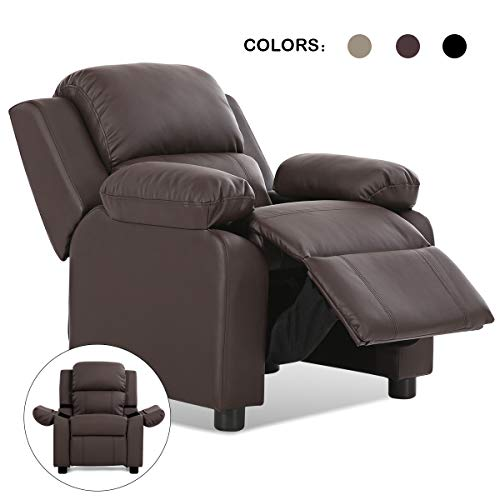 Costzon Kids Sofa Recliner, Children PU Leather Armchair W/Front Footrest, Flip-up Storage Arms, Padded Backrest, Ergonomic Contemporary Sofa for Toddler Boys Girls, Lightweight Sofa Chair (Brown)