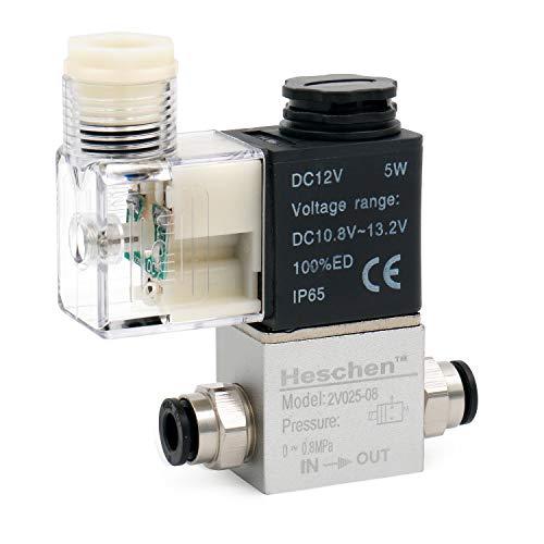Heschen Electroválvula neumática eléctrica 2V025-08 12VDC PT1/4 2/2 vías normalmente cerrada IP65 CE