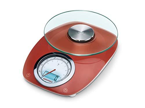 Soehnle Vintage Style Báscula de Cocina Digital, Rojo, 17.5x23.5x7.5 cm