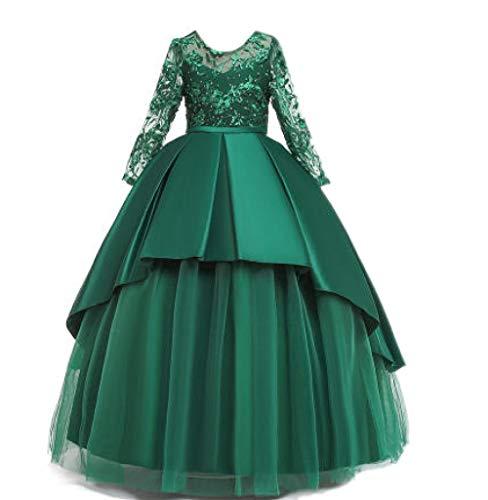 Haute Couture Kleid Hochzeitsmädchen Satin Spitze Schwanz Langen Rock Blumenmädchen Brautjungfer Party, Greem_9-10_Years