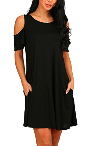 PCEAIIH Women's Short Sleeve Cold Shoulder Tunic Top Swing T-Shirt Loose Dress with Pockets