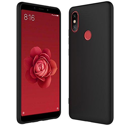Anjoo Funda Compatible con Xiaomi Mi A2, Fundas Duradera de TPU Suave de Silicona Funda Protectora Trasera Completa Compatible con Shell, Negro