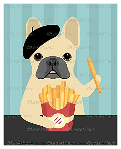 604D - Fawn French Bulldog Eating French Fries UNFRAMED Wall Art Print by Lee ArtHaus