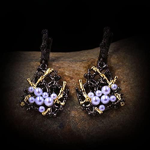 NIUBKLAS Pendientes de Perlas de Agua Dulce barrocos Vintage de Plata 925 de Lujo Pendientes geométricos Irregulares para Mujer Pendientes de Perlas Negras Joyas