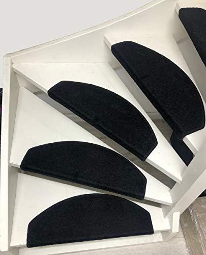 Carpe mathique® Stufenmatten Twist - 56x16x4 cm - Schwarz | Treppenteppich | Treppenstufen | 15er Set Halbrund | 15er Set Starke Befestigung | Selbstklebend | Neu!