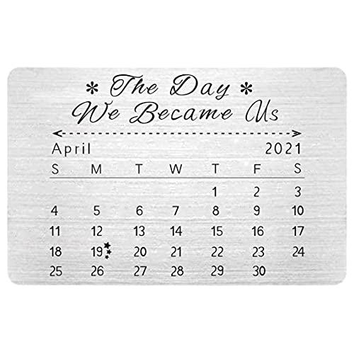 FINGERINSPIRE Tarjeta de 85 x 55 mm personalizada con fecha especial para novio, novia, marido, esposa, The Day We Became Us(color acero inoxidable)