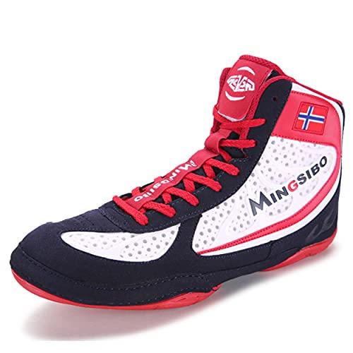 Entrenadores De Boxeo para Mujer, Zapatillas De Deporte Casual para Caminar Transpirables Zapatos De Entrenamiento Liviano,Rojo,42 EU