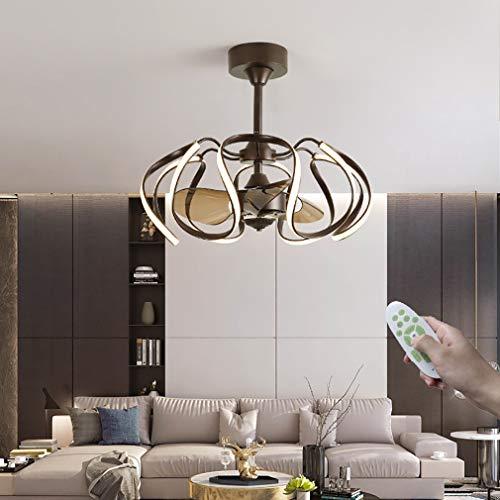 YUNZI Sala Ventiladores con Luces, Moderno LED Regulable con Mando A Distancia 6 Marchas Ajustables Lámpara De Ventilador por Interior Salón Cuarto Comedor,65×55cm