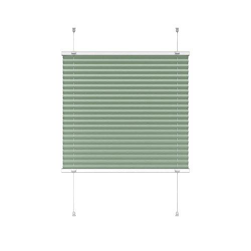 Victoria M. Indiva Lite Plissee-Rollo ohne Bohren 90 x 150 cm, Hochwertiges Scheibenrollo Plissee Faltrollo mit Klemmträger für Fenster und Türen Sichtschutzrollo Klemm-Rollo grün