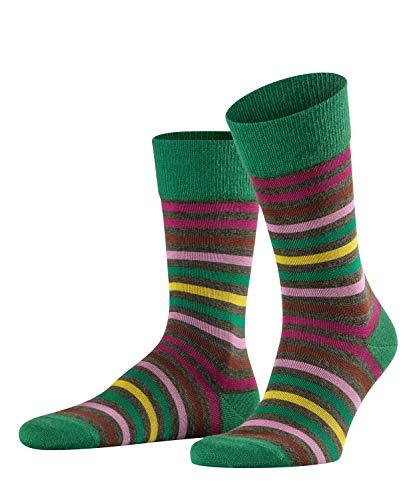 FALKE Herren Socken Tinted Stripe, Schurwolle/Baumwollmischung, 1 Paar, Grün (Olive Melange 7020), Größe: 43-46