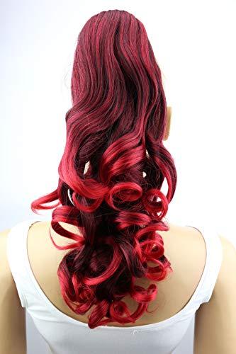 PRETTYSHOP 2 IN 1 30cm Und 40cm Haarteil Zopf Pferdeschwanz Haarverlängerung Voluminös Gewellt Rot Mix H16-2