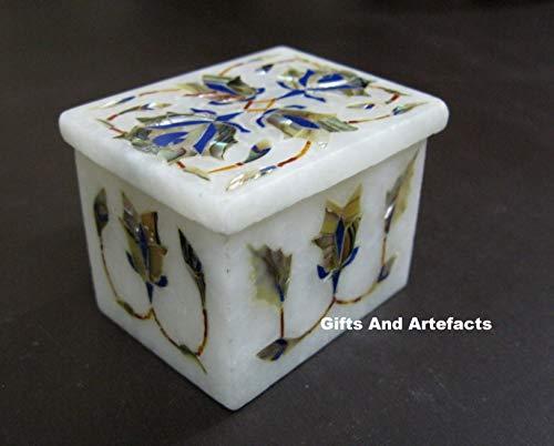Gifts And Artefacts Caja Multiusos de mármol de 2.5 Pulgadas x 1.5 Pulgadas con Gemas de lapislázuli y nácar se Puede Utilizar para Regalo de cumpleaños