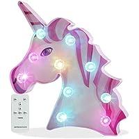 Pooqla Remote Control 3D Rainbow Color Changing Unicorn Lamp