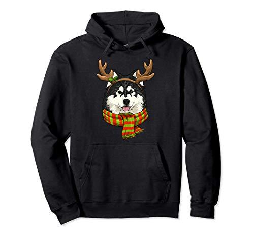 Alaskan Malamute Christmas Reindeer Antlers Dog Xmas Gift Pullover Hoodie