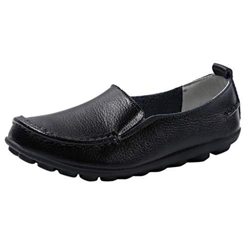 Dasongff Damen Leder Arbeitsschuhe Freizeit Flache Loafers Halbschuhe Fahren Sandalen Klettverschluss Erbsenschuhe Leder Mokassins Flach Schuhe