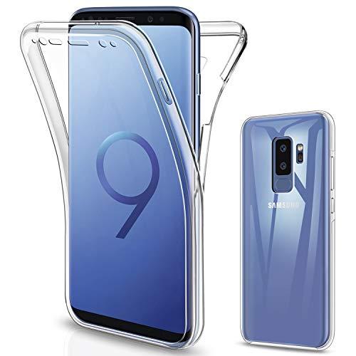 SOGUDE Cover per Samsung Galaxy S9 Plus, Custodia per Samsung Galaxy S9 Plus, Transparent 360° Full Body Protezione Silicone TPU Premium Resistente Case Cover