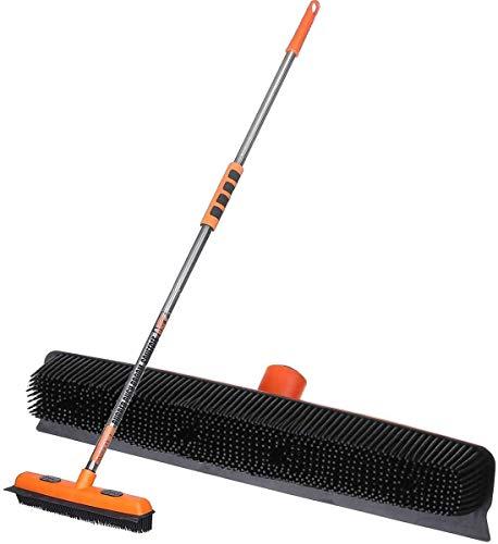 MATCC Rubber Broom Indoor Carpet Brush Push Broom Long Handle Sweeping Brush Carpet Floor Sweeper Removing Pet Dog Cat Hair Rubber Bristles Squeegee Edge Carpet Rake Clip Cloth Brush Head