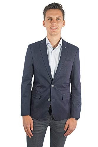 PME Legend Herren Sakko Einreiher zweiknopf Jackett Blazer Anzug Klassisch Sportlich Regular Blau Casual für Männer, Größe:L, Farbe:Blau