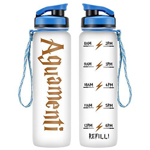 LEADO 32oz 1Liter Motivational Water Bottle w/ Time Marker, Aguamenti, HP Merchandise - Funny Mothers Day, Potterhead Birthday Gifts for Women, Men, Mom, Dad, Wife, Husband, Friends - Drink More Water