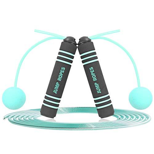 AOLVO - Corda per saltare regolabile, per fitness, donna, bambini, con corda per saltare senza grovigli, con manici in schiuma antiscivolo, corda per saltare senza fili, perfetta velocità per palestra