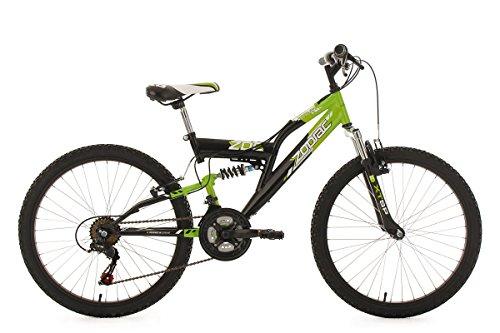 KS Cycling Kinderfahrrad Mountainbike Fully 24'' Zodiac grün-schwarz RH38cm