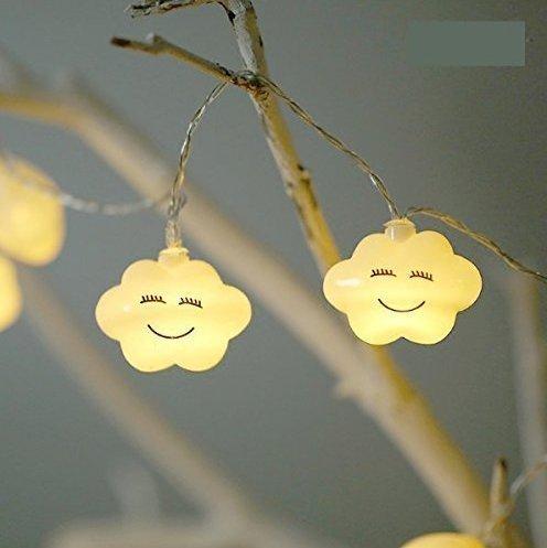 Urgrace 1.5 m 10led Creative LED batterie Smile Cloud Night Lights mignon LED Guirlande lumineuse Lampes pour bébé Chambre à coucher JavaScript : ; fête de vacances Décor lumière blanc chaud