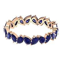 ジグザグエタニティリングジェムストーン結婚指輪 3.3カラット洋ナシ形ブルーサファイアリング 9月の誕生石リング彼女へのアニバーサリーリングプロミスリング, 18K ローズゴールド, Size: 19