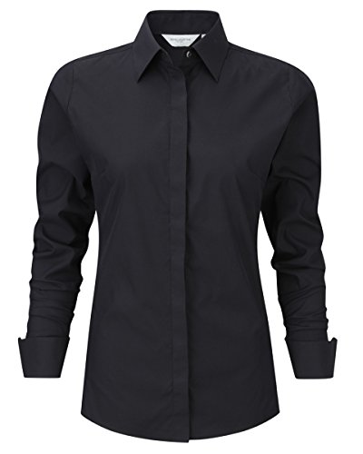 Russell Collection 960F Womens Long Sleeve Ladies Stretch Shirt - Black - 2X-Large