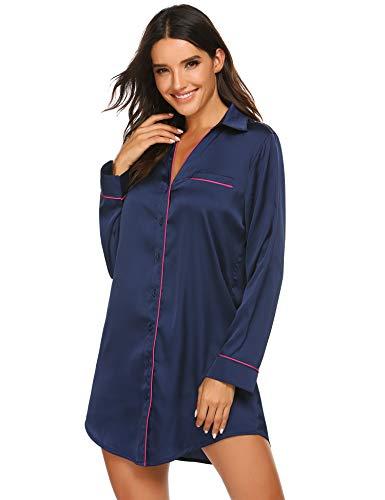 Ekouaer Women Satin Housecoat Silk Housedress Button Down Pajama Top Boyfriend Sleepshirt Plus Size Navy Blue