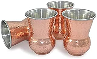 Copper Hammered Mugs Matka Style 300 ml Drinking Mug, Each Mug 270 Gram (Set Of 4)