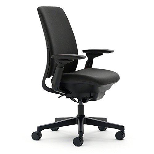 Steelcase Amia Task Chair: Adjustable Back Tension - LiveLumbar Support - Seat Slider - 4 Way Adjustable Arms - Black Frame/Black Fabric (Renewed)