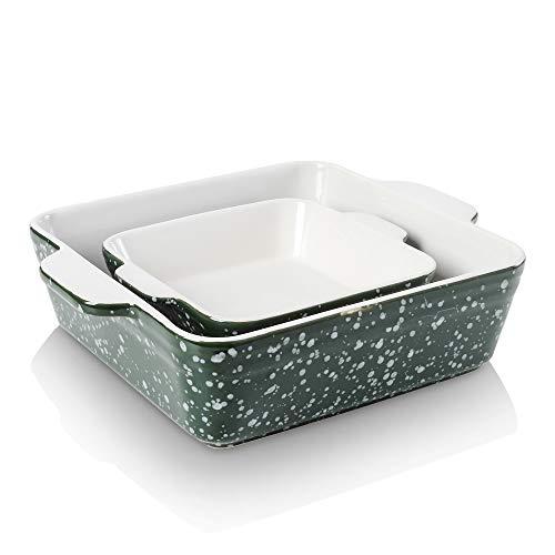 KOOV Ceramic Baking Dish Set of 2, Square Baking Pan 8 x 8 inches & 6 x 6 inches, Small Baking Dish Pans, Brownie Pan for Cooking, Cake Dinner, Kitchen, Snowflake Series (Green)
