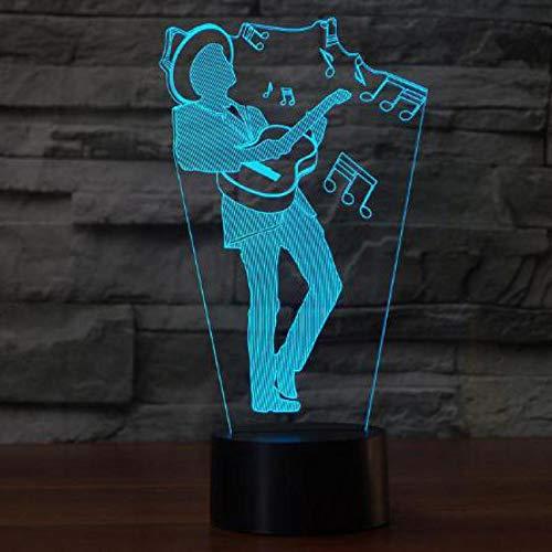 Gitaar spelen 3D illusie lamp LED nachtlampje met 7 kleuren wijzigen en afstandsbediening verjaardag en kerstcadeau voor kinderen slaapkamer decoratieve tafellamp