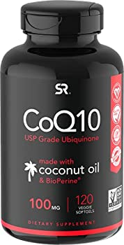 CoQ10 100mg Enhanced with Coconut Oil & Bioperine  Black Pepper  for Better Absorption | Vegan Certified and Non-GMO Verified  120 Veggie Softgels