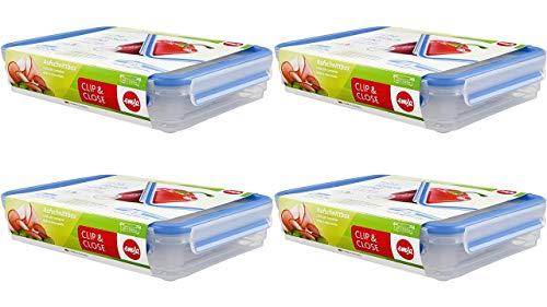 Emsa 509040, 4 x Aufschnittbox-System mit Deckel, 1.65 Liter, Transparent/Blau, Clip & Close + Gratis 4er Set EKM Living Edelstahl Trinkhalme