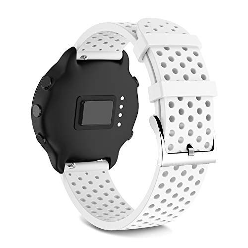 NotoCity für Garmin Vivoactive 3 Armband/Galaxy Watch Active Armband/Active 2 / Forerunner 645 / Garmin Venu/Gear Sport/Galaxy Uhr 42 mm, 20 mm Silikon-Ersatzarmband(Klein Weiß)