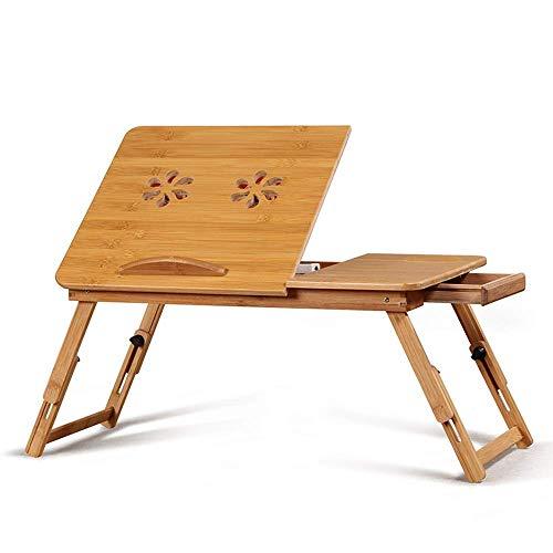 Computer Klapptisch Bambus Laptop-Schreibtisch Klappbett höhenverstellbarer Tisch Sofa Tablett mit 4 Neigungswinkeln Luftlöchern kleine Schublade for Haus, Etc. Laptop-Tisch Klapptische xuwuhz