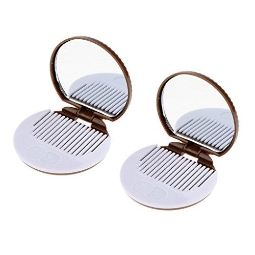Homyl 2pcs Miroir de Poche Rond Motif Biscuit avec Peigne Outil de Maquillage Cosmétique - Marron