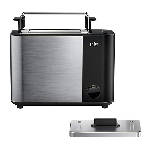 Braun IDCollection Toaster HT5010 BK – mit Doppelschlitz, Bagel-Funktion für einseitiges Toasten, 13 Röstgrade, Auftaufunktion, inkl. Brötchenaufsatz, 1000 W, Schwarz / Edelstahl