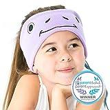 CozyPhones Kids Headphones Volume Limited with Thin Speakers & Super Soft Fleece Headband - Perfect Toddlers & Children's Earphones for Home, School & Travel - Purple Froggy
