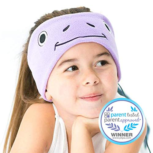 CozyPhones Kids Headphones for Girls Volume Limited with Thin Speakers & Super Soft Stretchy Headband - Perfect Toddlers & Children's Earphones for Home, School & Travel - Purple Froggy