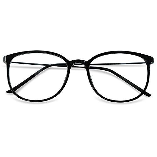KOOSUFA Klassische Retro Nerdbrille Damen Herren Brille Ohne Sehstärke Brillengestelle Rund Pantobrille Brillenfassung Fake Brille Vintage mit Etui (Matt Schwarz)
