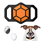 Protective Case for Airtag Pet Collar, Silicone AirTag Holder for Apple Airtag GPS Tracking Finder Dog Cat Collar Loop Accessories, Anti-Lost Portable Air Tag Protector Case with HD Protector (Black)