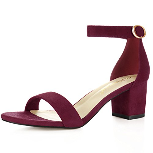 Allegra K Women's Open Toe Block Heel Ankle Strap Sandals (Size US 8.5) Burgundy